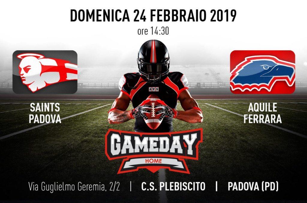Padova Saints vs Aquile Ferrara - 24 febbraio 2019 - Stdio Plebiscito (PD)